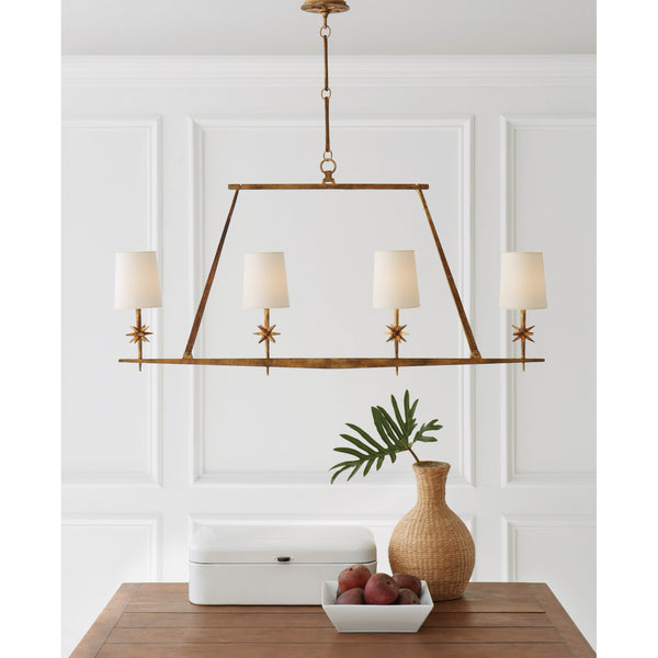 Visual Comfort S 5316GI-NP Ian K. Fowler Etoile Linear Chandelier in Gilded Iron