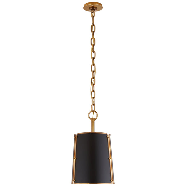 Visual Comfort S 5645HAB-BLK Carrier and Company Hastings Small Pendant in Hand-Rubbed Antique Brass