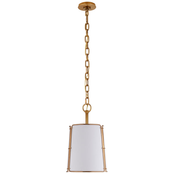 Visual Comfort S 5645HAB-WHT Carrier and Company Hastings Small Pendant in Hand-Rubbed Antique Brass