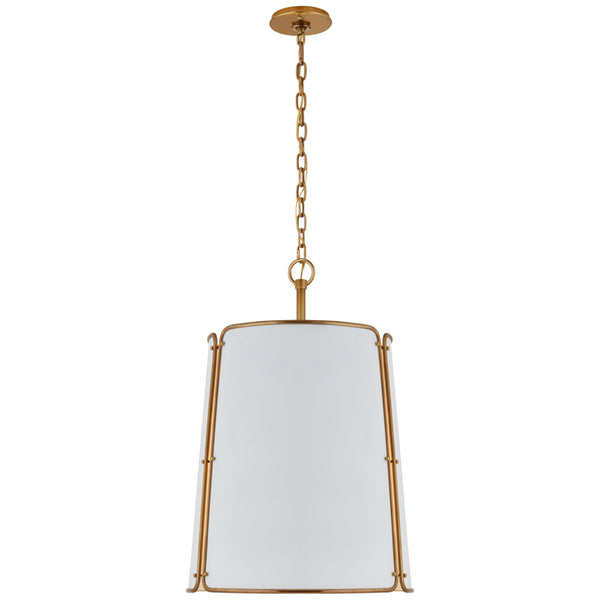 Visual Comfort S 5646HAB-WHT Carrier and Company Hastings Large Pendant in Hand-Rubbed Antique Brass