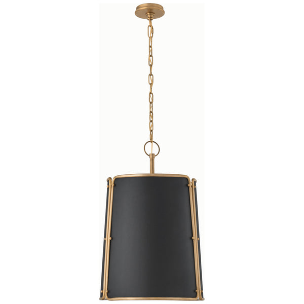 Visual Comfort S 5647HAB-BLK Carrier and Company Hastings Medium Pendant in Hand-Rubbed Antique Brass with Black Shade