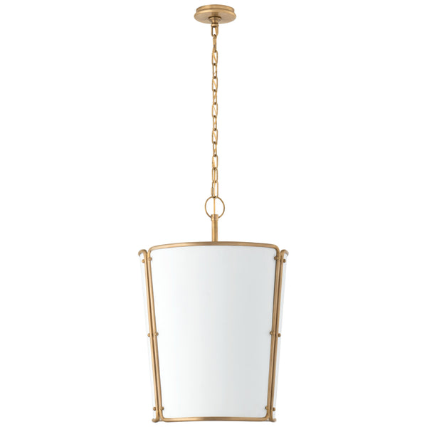 Visual Comfort S 5647HAB-WHT Carrier and Company Hastings Medium Pendant in Hand-Rubbed Antique Brass with White Shade