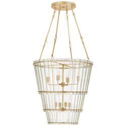 Visual Comfort S 5656HAB-AM Carrier and Company Cadence Medium Waterfall Chandelier in Hand-Rubbed Antique Brass