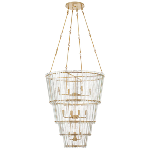 Visual Comfort S 5657HAB-AM Carrier and Company Cadence Large Waterfall Chandelier in Hand-Rubbed Antique Brass