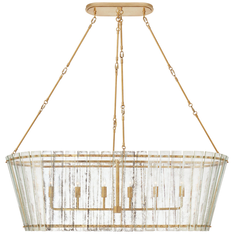 Visual Comfort S 5671HAB-AM Carrier and Company Cadence Grande Linear Chandelier in Hand-Rubbed Antique Brass