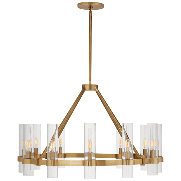 Visual Comfort S 5680HAB-CG Ian K. Fowler Presidio Medium Chandelier in Hand-Rubbed Antique Brass