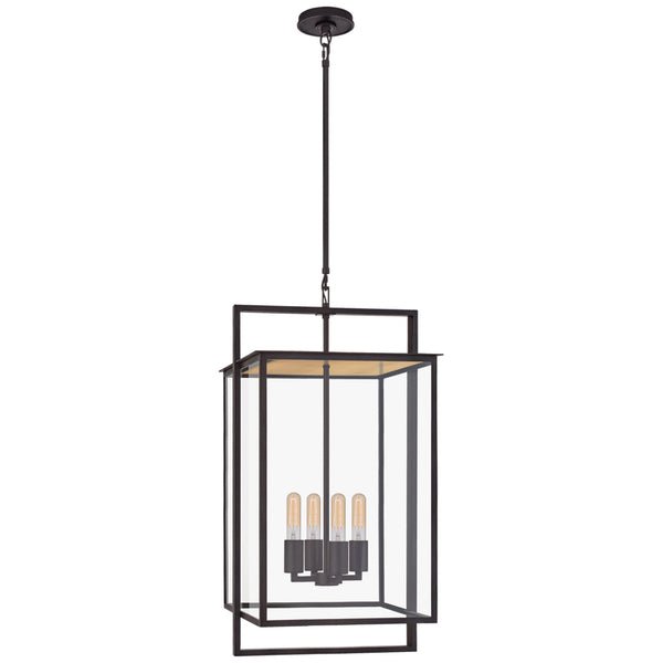 Visual Comfort S 5793AI-CG Ian K. Fowler Modern Halle Medium Hanging Lantern in Aged Iron with Clear Glass