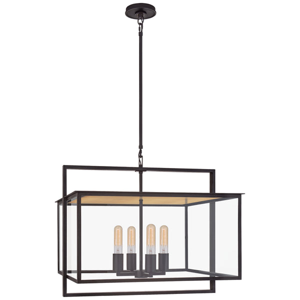 Visual Comfort S 5797AI-CG Ian K. Fowler Modern Halle Wide Hanging Lantern in Aged Iron with Clear Glass