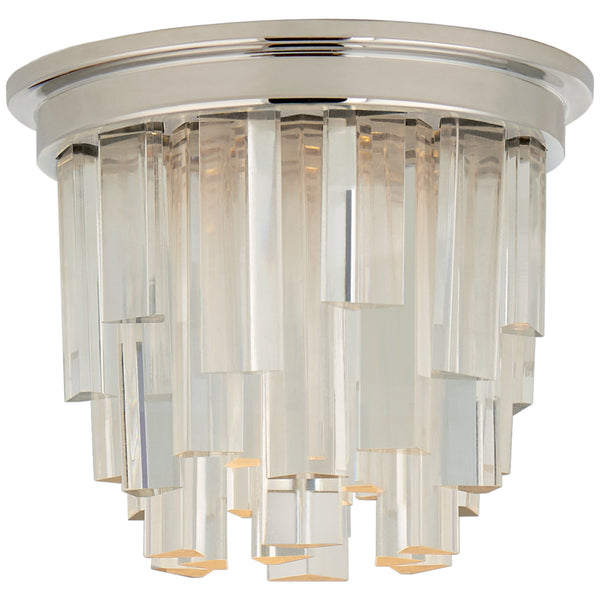"Visual Comfort S 7010PN-CA Studio VC Modern Breck 5"" Solitaire Flush Mount in Polished Nickel with Clear Acrylic"