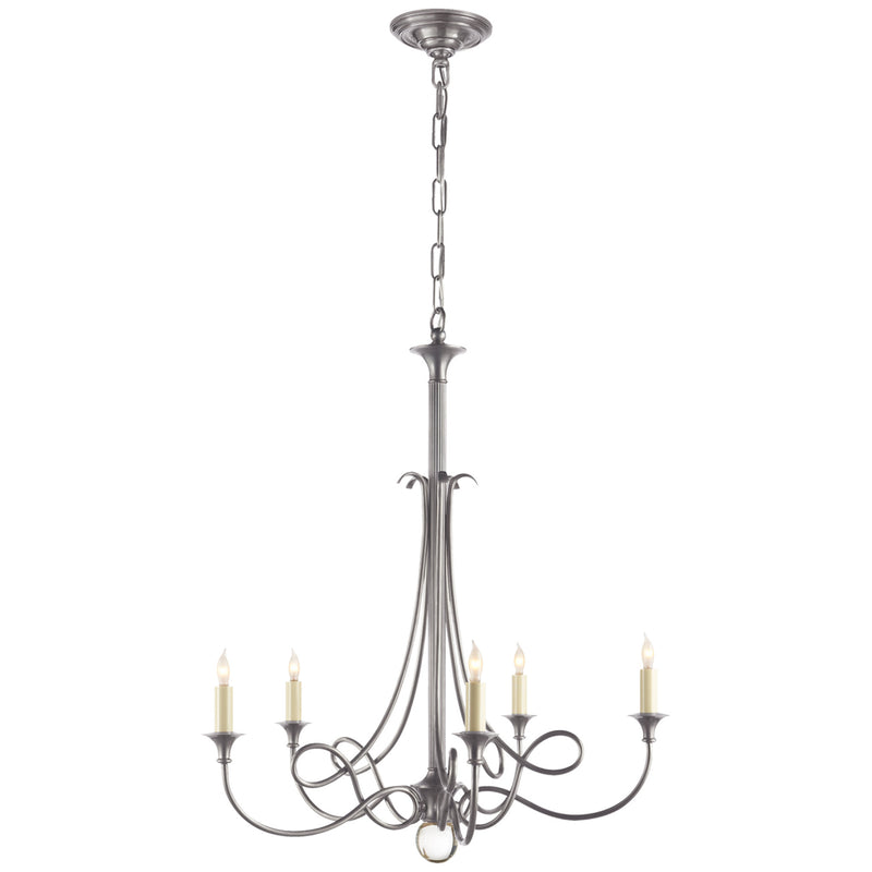 Visual Comfort SC 5015AS Eric Cohler Twist Chandelier in Antique Silver