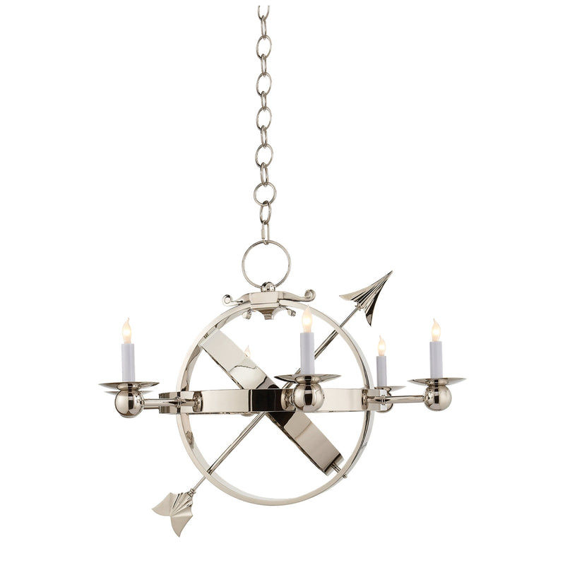 Visual Comfort SC 5102PN Eric Cohler Armillary Sphere Chandelier in Polished Nickel