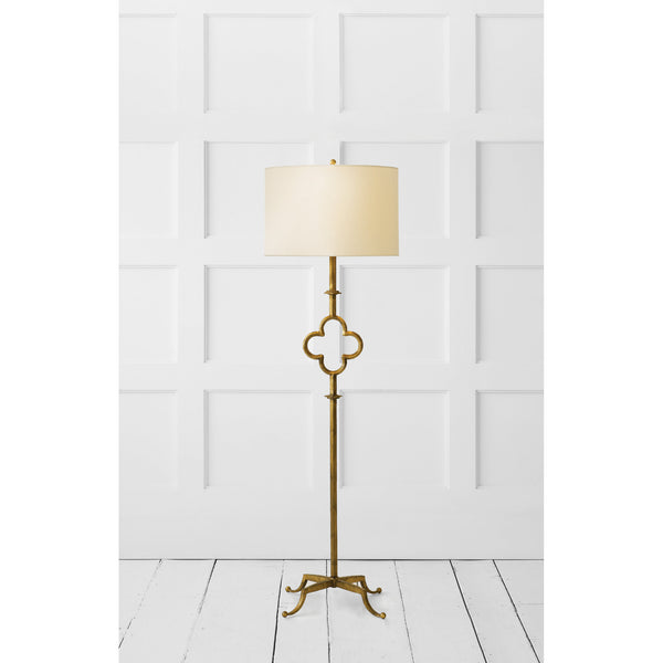 Visual Comfort SK 1500GI-L Suzanne Kasler Quatrefoil Floor Lamp in Gilded Iron