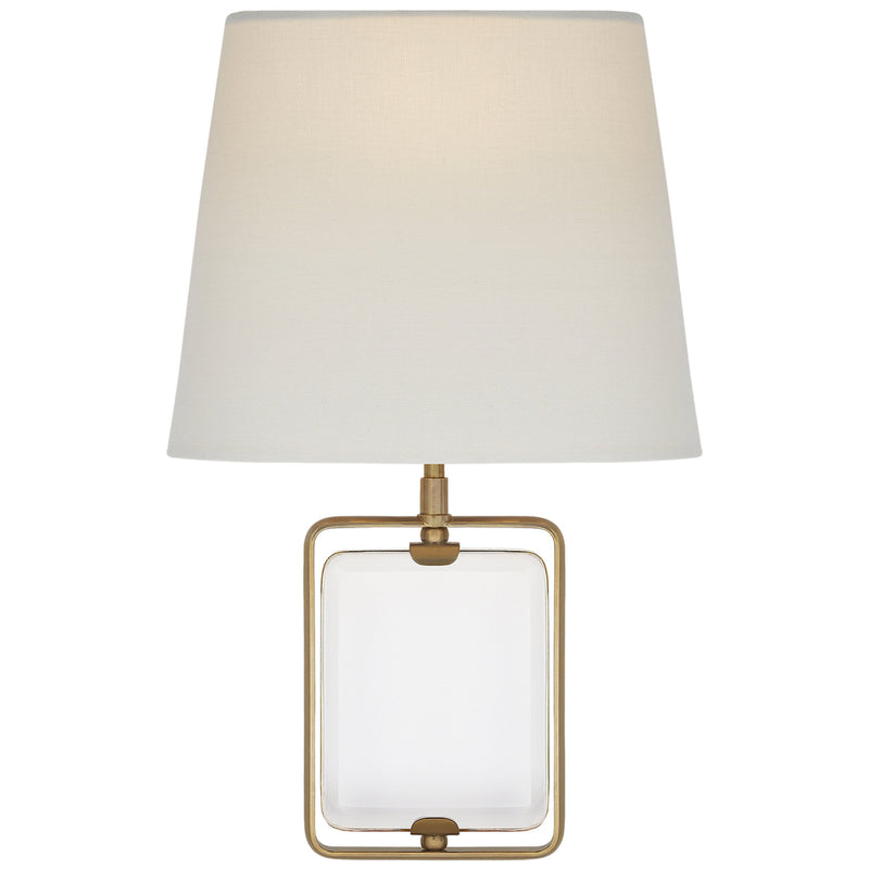 Visual Comfort SK 2030CG/HAB-L Suzanne Kasler Henri Framed Jewel Sconce in Crystal and Hand-Rubbed Antique Brass