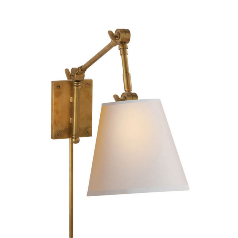 Visual Comfort SK 2115HAB-NP Suzanne Kasler Graves Pivoting Sconce in Hand-Rubbed Antique Brass