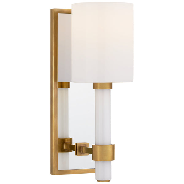 Visual Comfort SK 2450HAB-WG Suzanne Kasler Modern Maribelle Single Sconce in Hand-Rubbed Antique Brass