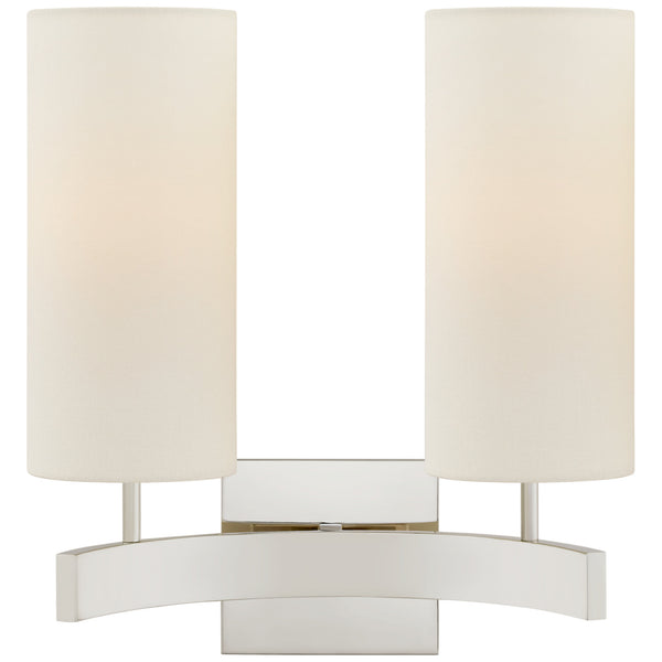 Visual Comfort SK 2552PN-L Suzanne Kasler Modern Aimee Double Sconce in Polished Nickel