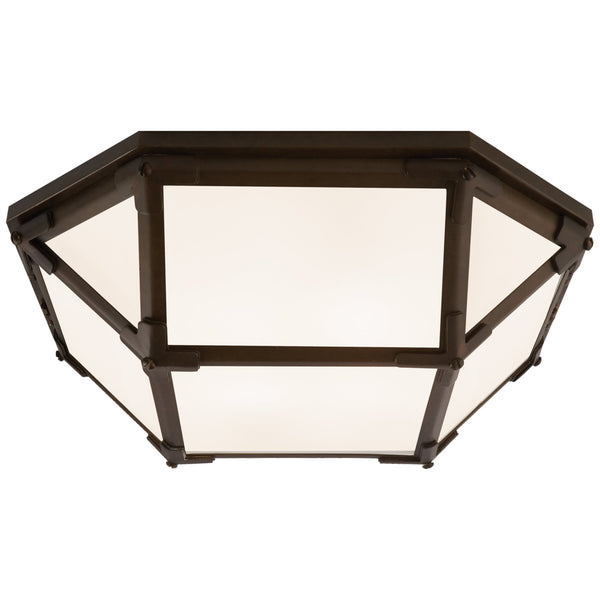 Visual Comfort SK 4008AZ-WG Suzanne Kasler Casual Morris Flush Mount in Antique Zinc with White Glass