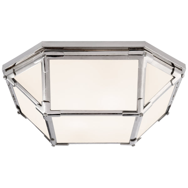 Visual Comfort SK 4008PN-WG Suzanne Kasler Casual Morris Flush Mount in Polished Nickel with White Glass