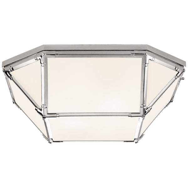Visual Comfort SK 4009PN-WG Suzanne Kasler Modern Morris Large Flush Mount in Polished Nickel with White Glass