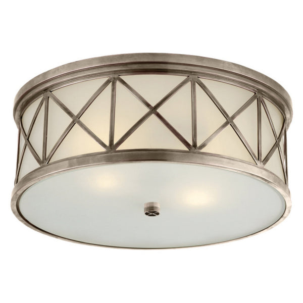 Visual Comfort SK 4011AN-FG Suzanne Kasler Traditional Montpelier Large Flush Mount in Antique Nickel