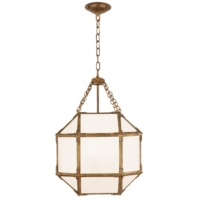 Visual Comfort SK 5008GI-WG Suzanne Kasler Casual Morris Small Lantern in Gilded Iron with White Glass