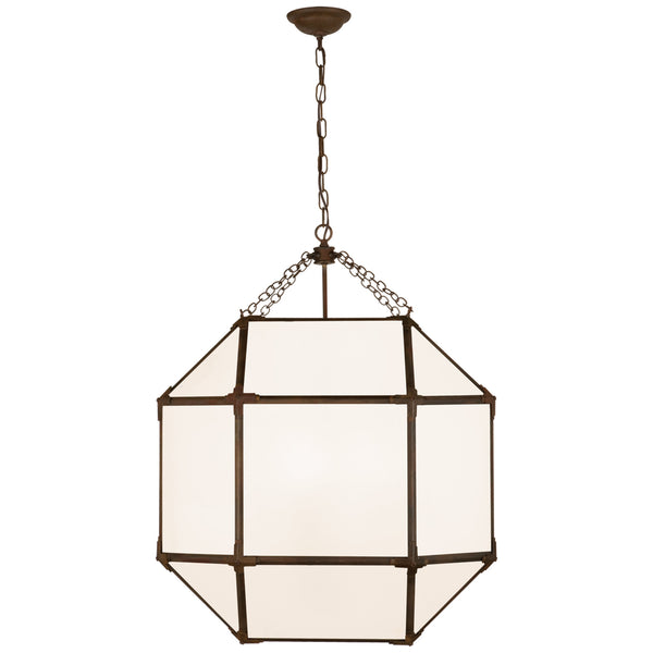 Visual Comfort SK 5010AZ-WG Suzanne Kasler Casual Morris Large Lantern in Antique Zinc with White Glass