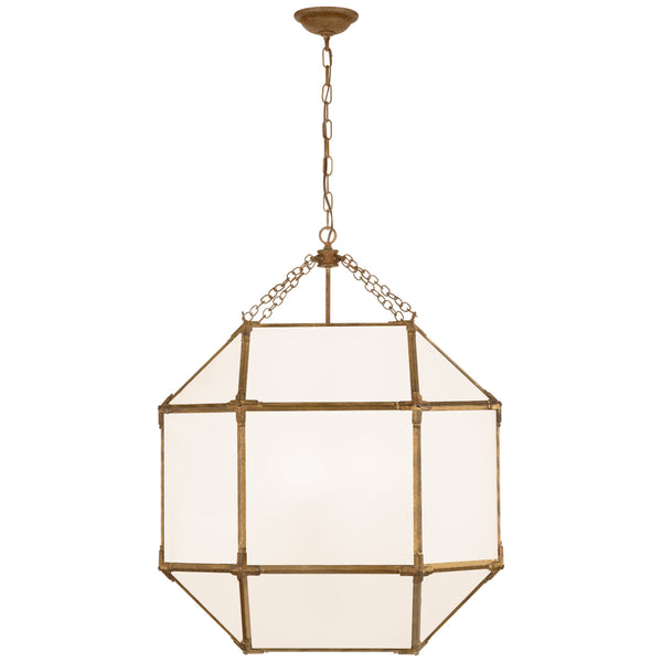 Visual Comfort SK 5010GI-WG Suzanne Kasler Casual Morris Large Lantern in Gilded Iron with White Glass