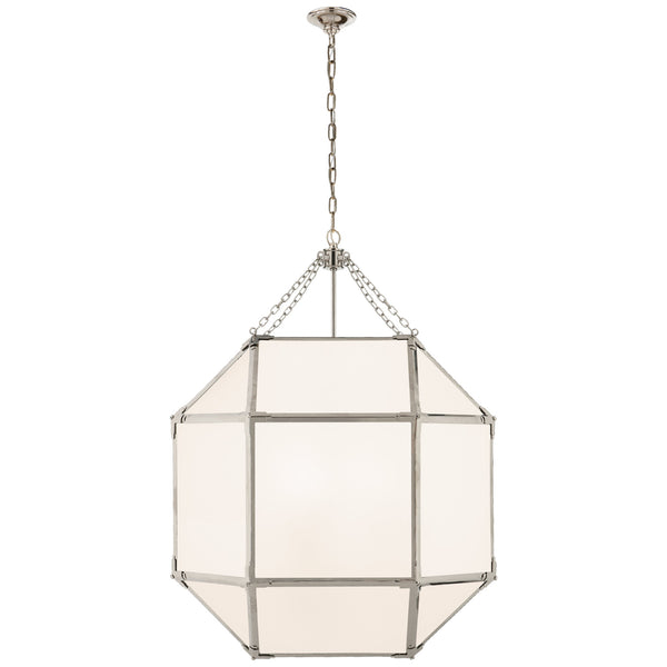 Visual Comfort SK 5010PN-WG Suzanne Kasler Casual Morris Large Lantern in Polished Nickel with White Glass
