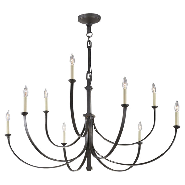 Visual Comfort SK 5022AI Suzanne Kasler Casual Reims Large Chandelier in Aged Iron