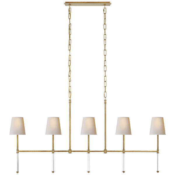 Visual Comfort SK 5055HAB-NP Suzanne Kasler Camille Medium Linear Chandelier in Hand-Rubbed Antique Brass