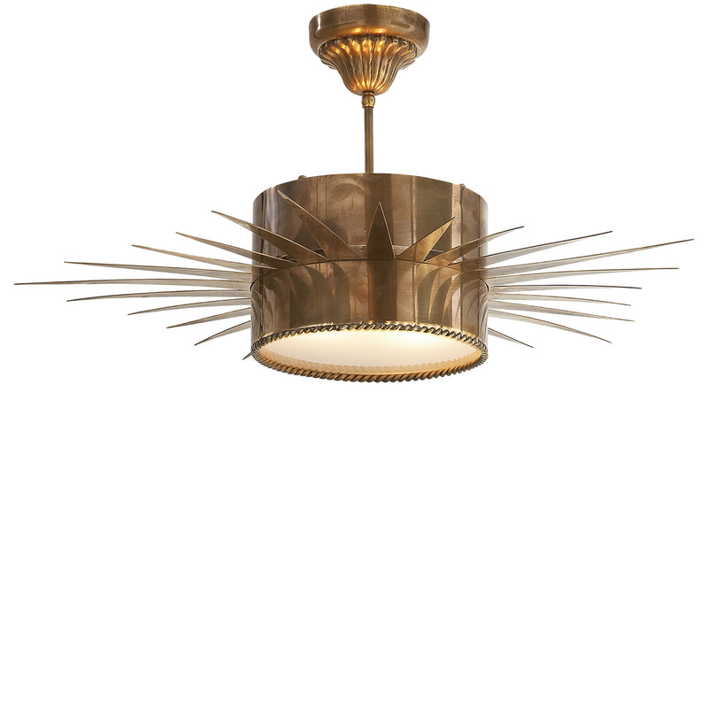 Visual Comfort SK 5202HAB Suzanne Kasler Soleil Large Semi-Flush in Hand-Rubbed Antique Brass