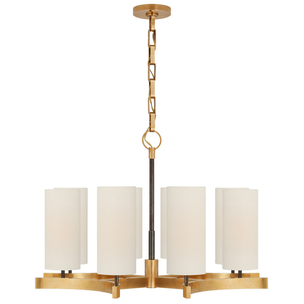 Visual Comfort SK 5550BZ/HAB-L Suzanne Kasler Modern Aimee Medium Chandelier in Bronze and Hand-Rubbed Antique Brass