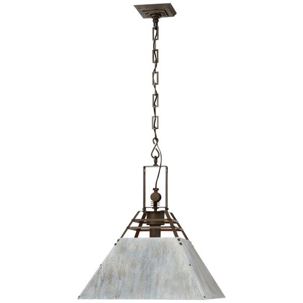 Visual Comfort SK 5561VS/OXG Suzanne Kasler Casual Pierre Medium Pendant in Vintage Steel and Oxidized Gray