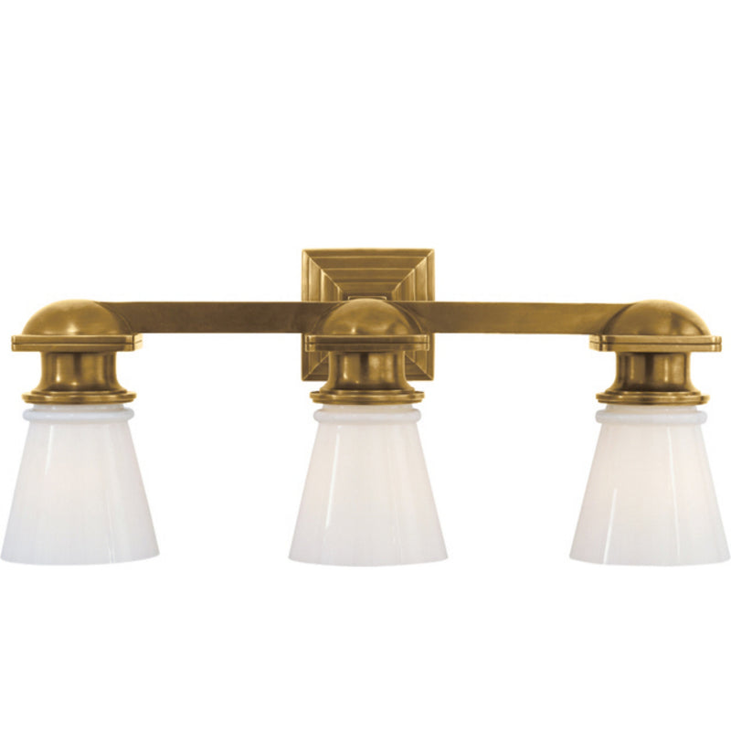 Visual Comfort SL 2153HAB-WG Chapman & Myers New York Subway Triple Light in Hand-Rubbed Antique Brass
