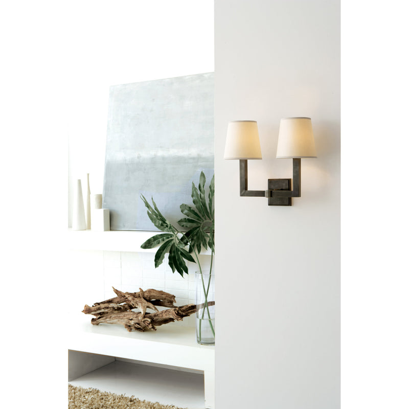Visual Comfort SL 2820BZ-NP Chapman & Myers Square Tube Double Sconce in Bronze