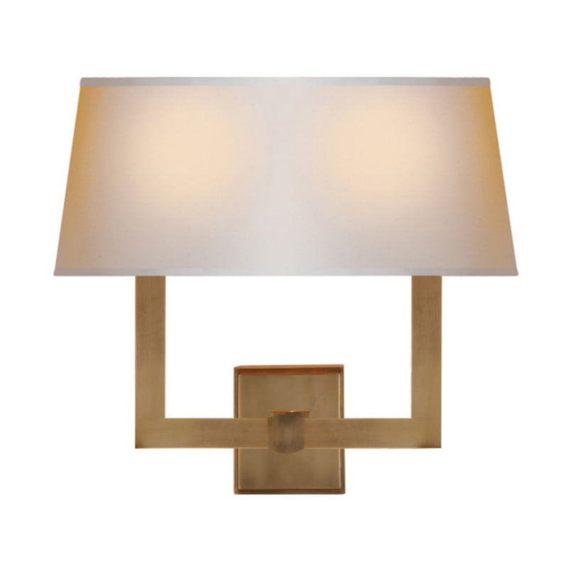 Visual Comfort SL 2820HAB-NP2 Chapman & Myers Square Tube Double Sconce in Hand-Rubbed Antique Brass
