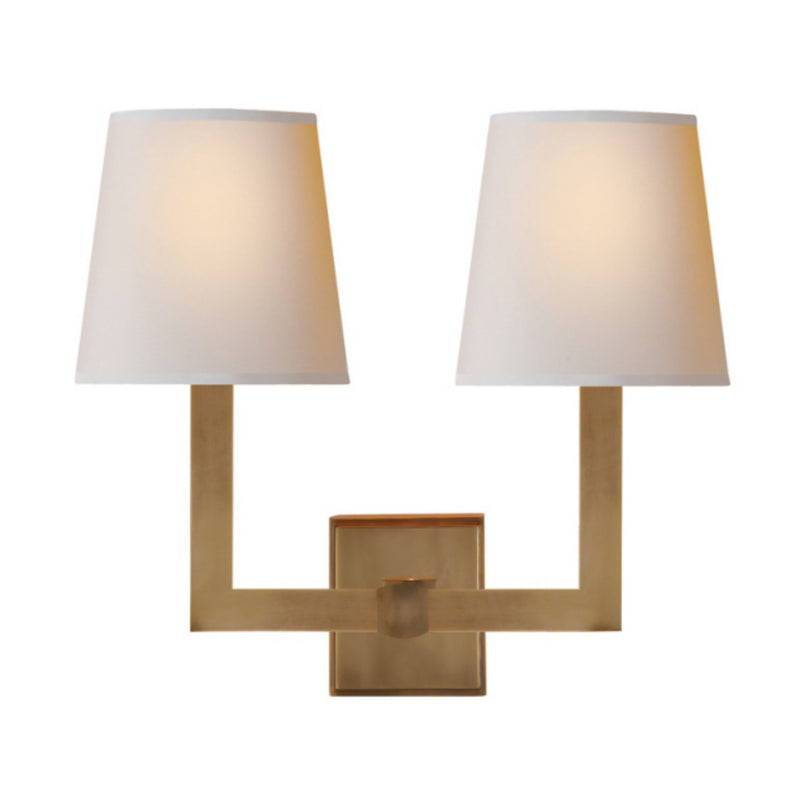 Visual Comfort SL 2820HAB-NP Chapman & Myers Square Tube Double Sconce in Hand-Rubbed Antique Brass