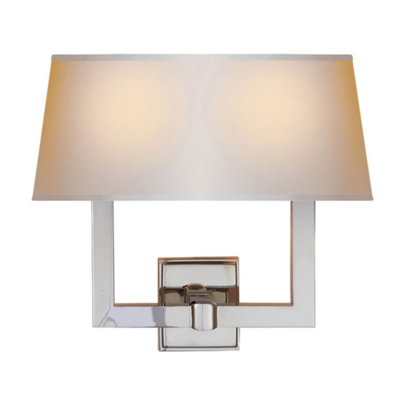 Visual Comfort SL 2820PN-NP2 Chapman & Myers Square Tube Double Sconce in Polished Nickel