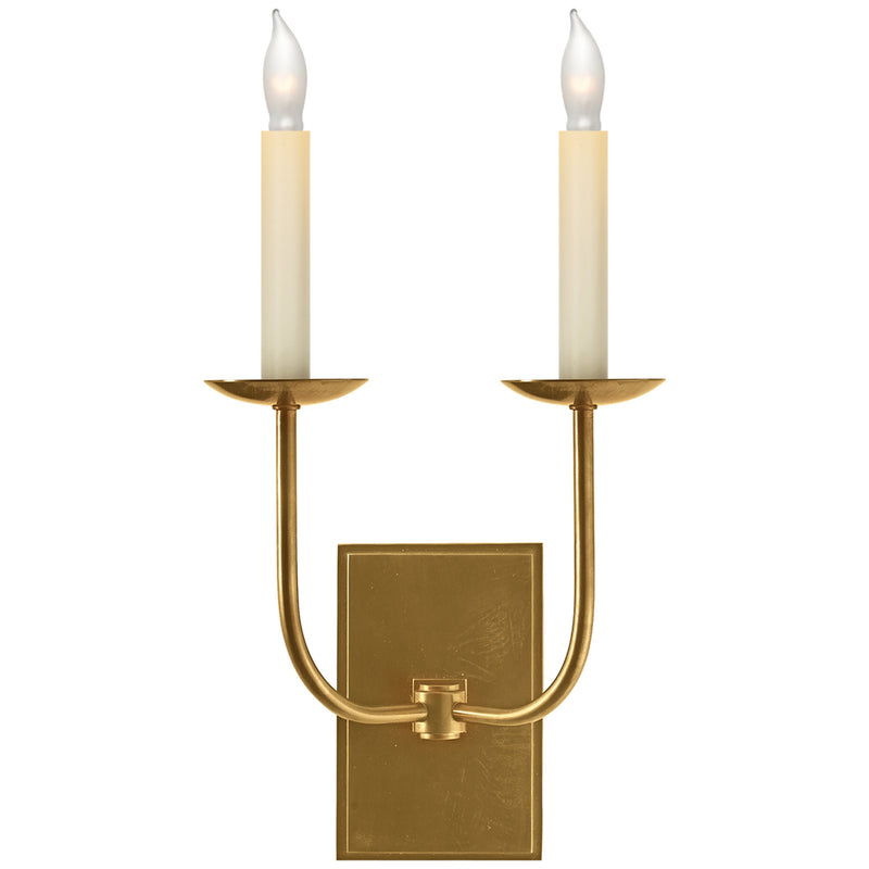 Visual Comfort SL 2861HAB Chapman & Myers TT Double Sconce in Hand-Rubbed Antique Brass