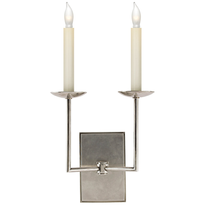 Visual Comfort SL 2866AN Chapman & Myers Right Angle Double Sconce in Antique Nickel
