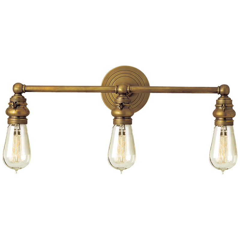 Visual Comfort SL 2933HAB Chapman & Myers Boston Functional Triple Light in Hand-Rubbed Antique Brass