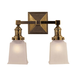 Visual Comfort SL 2942HAB-FG Chapman & Myers Boston Square Double Light in Hand-Rubbed Antique Brass