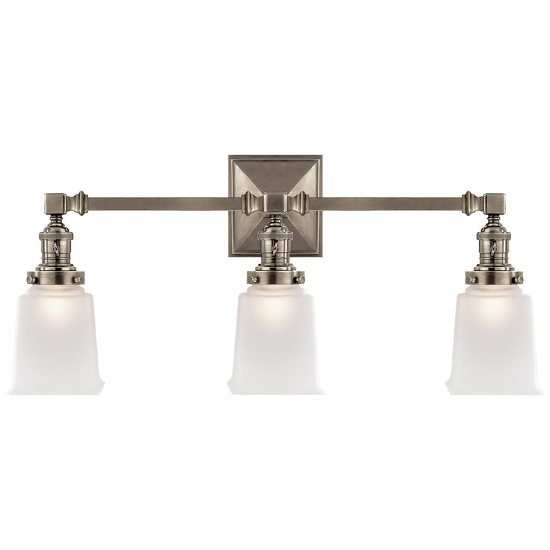 Visual Comfort SL 2943AN-FG Chapman & Myers Boston Square Triple Light Sconce in Antique Nickel