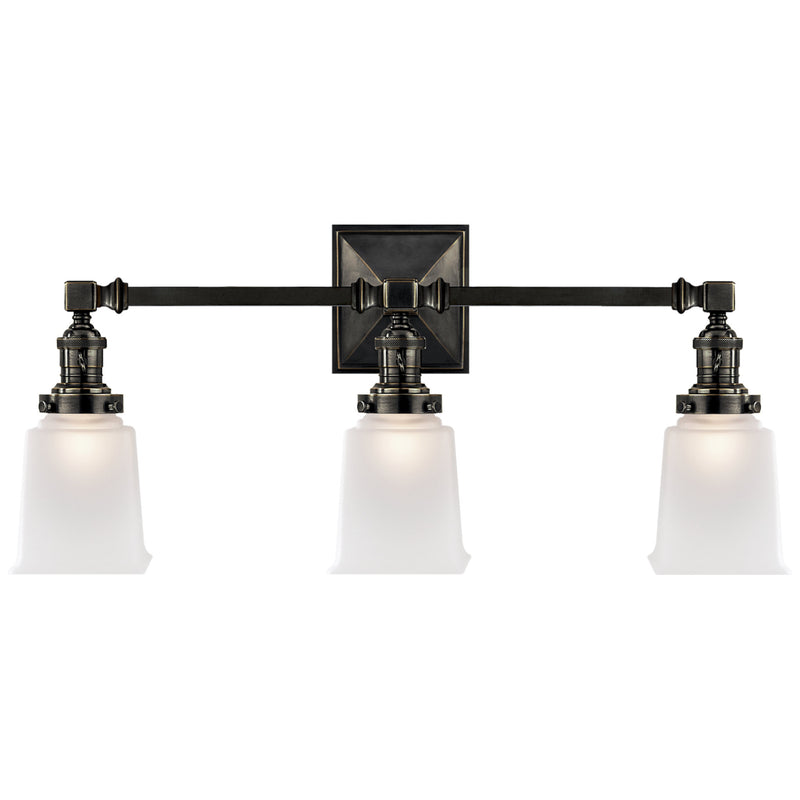 Visual Comfort SL 2943BZ-FG Chapman & Myers Boston Square Triple Light Sconce in Bronze