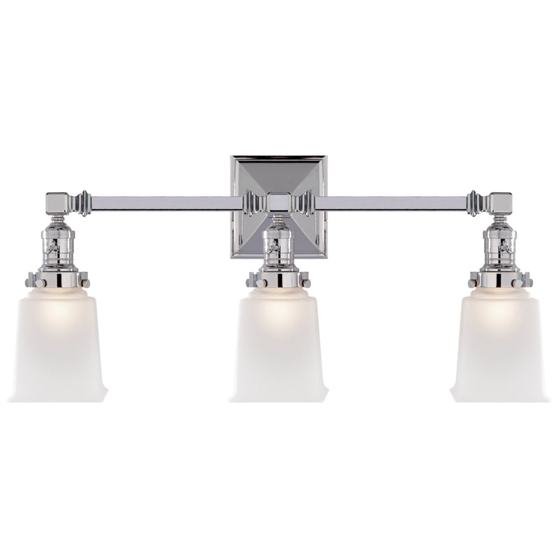 Visual Comfort SL 2943CH-FG Chapman & Myers Boston Square Triple Light Sconce in Chrome