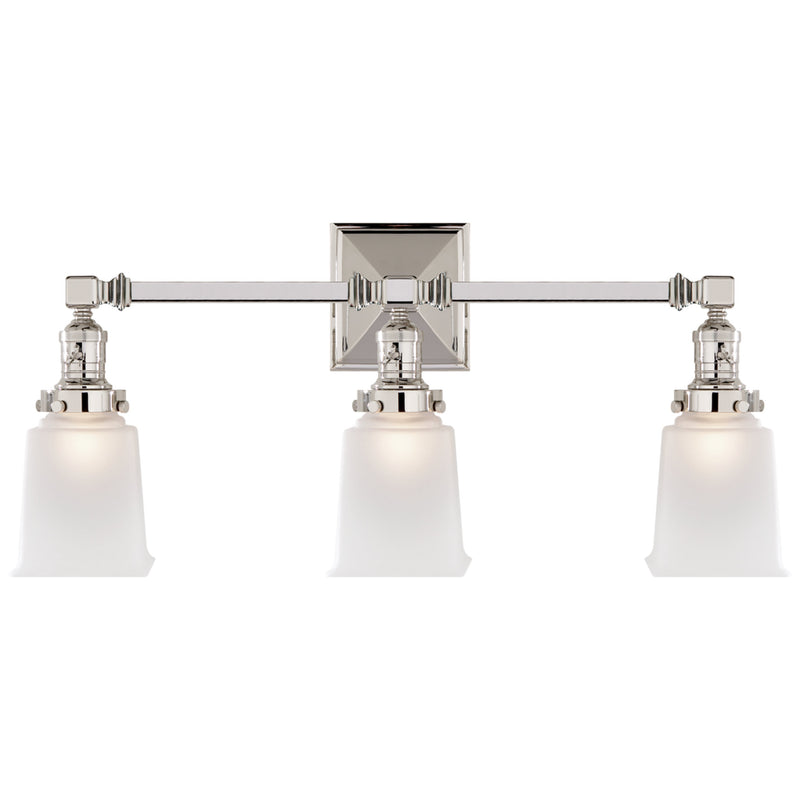 Visual Comfort SL 2943PN-FG Chapman & Myers Boston Square Triple Light Sconce in Polished Nickel