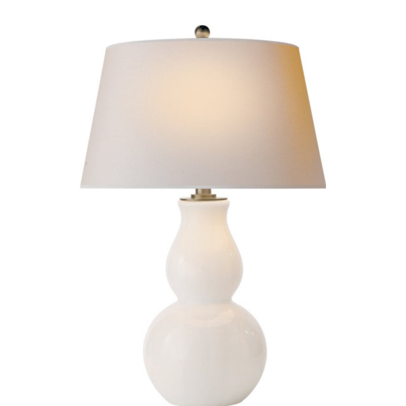 Visual Comfort SL 3811WG-NP Chapman & Myers Open Bottom Gourd Table Lamp in White Glass