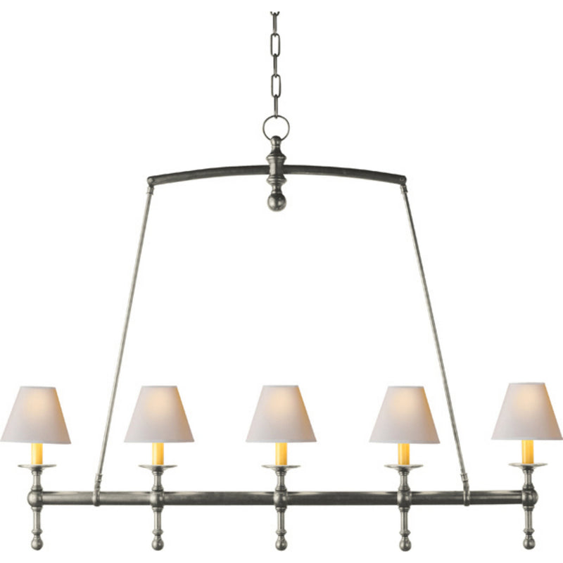 Visual Comfort SL 5811AN-NP Chapman & Myers Classic Linear Chandelier in Antique Nickel
