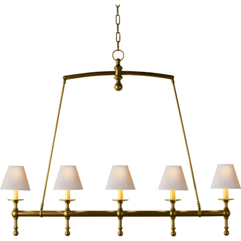 Visual Comfort SL 5811HAB-NP Chapman & Myers Classic Linear Chandelier in Hand-Rubbed Antique Brass