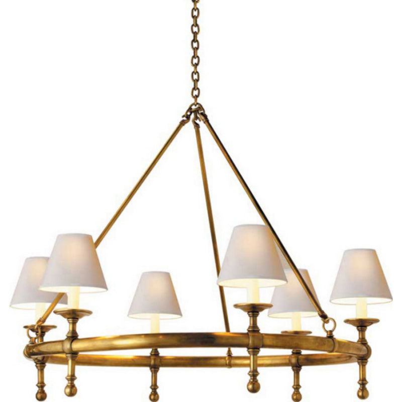 Visual Comfort SL 5812HAB-NP Chapman & Myers Classic Ring Chandelier in Hand-Rubbed Antique Brass